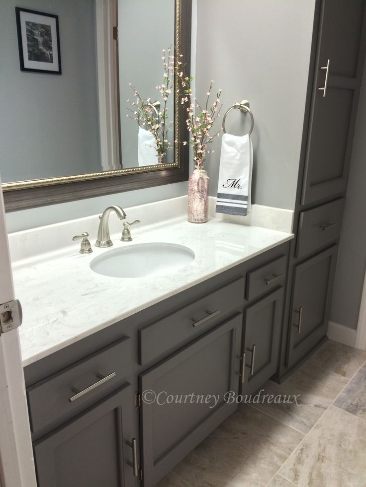 Grey and White bathroom. #Behr Paint using color #Anonymous for the ...