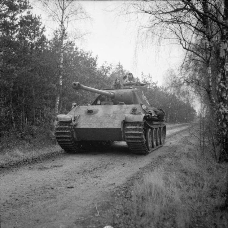 Captured German PzKpfw V Panther tank, used by 4th Coldstream Guards, 6th Guards Tank Brigade, 29 November 1944.