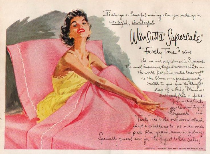 1954 Wamsutta Mills Bed Linens Sheets New Bedford Ma Ad