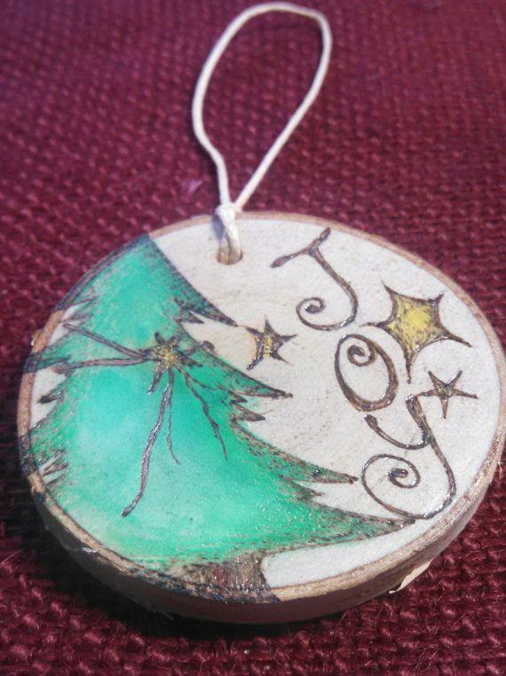 Christmas Tree Joy Woodburned Ornament