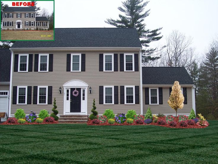 landscape design with spiral trees front of home landscape designs