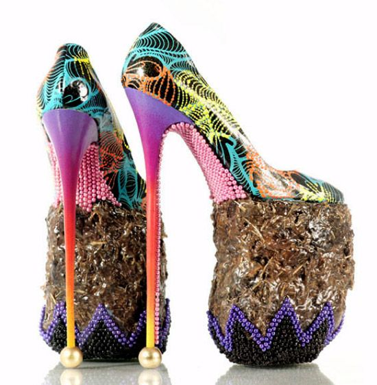 elephant dung shoes by INSA. the ten-inch heels made from elephant dung entitled 'anything goes when it comes to (s)hoes'. are drawing from the signature style of caribbean artist chris ofili who often integrated elephant dung into his work.