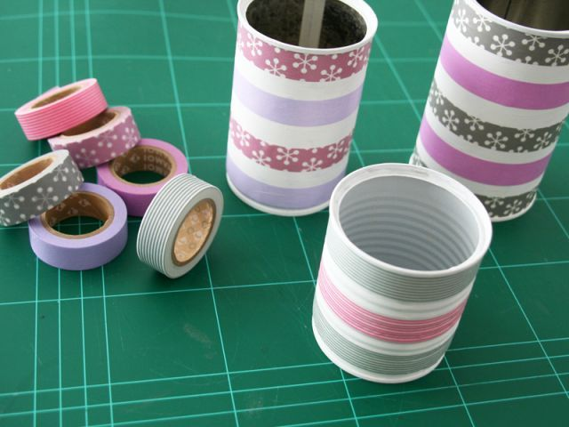 Miradas y Susurros decorar latas con whasi tapes