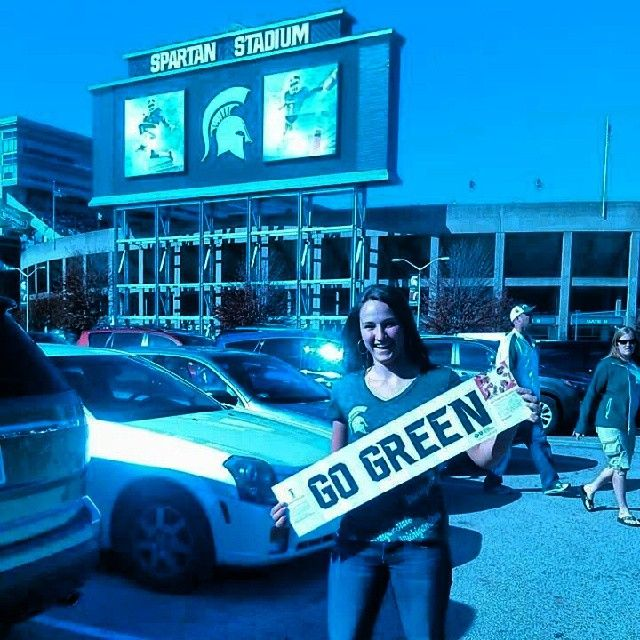 Went to the Michigan State football game today!!(: #Cool#Swag#GoGreen#MichiganState#Football#Fun#WeWon#Best#Spartain!! #Padgram