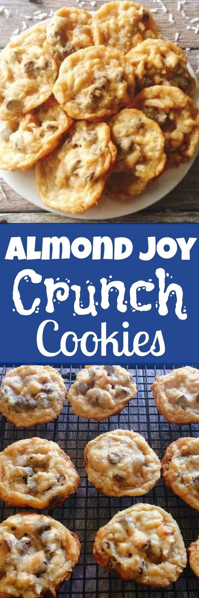 Delicious and easy Almond Joy Crunch Cookies are like a chocolate chip cookie loaded with chocolate chips, coconut and almonds. Dip them in melted chocolate and you definitely have a winner!