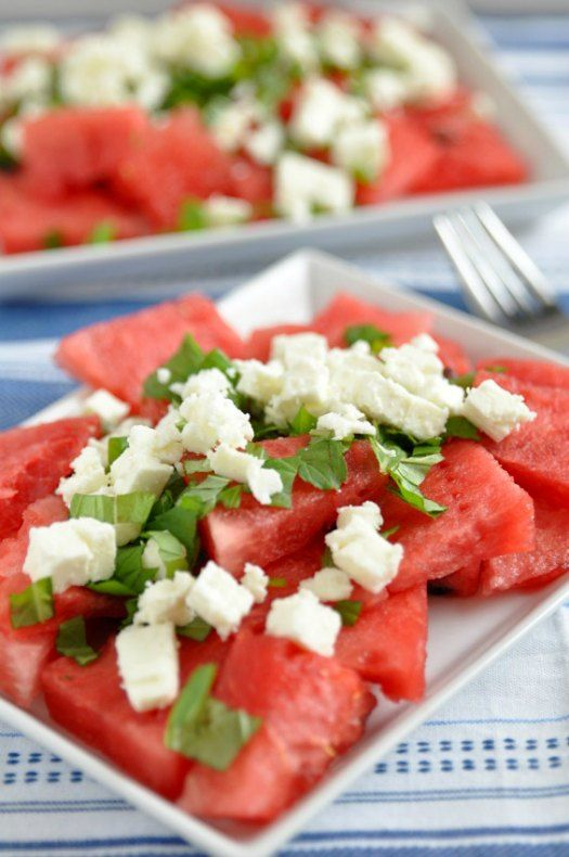 A quick and easy watermelon mint salad with feta makes for a perfect weekend snack at https://fearlessfresh.com/seriously-refreshing-watermelon-mint-salad-feta/