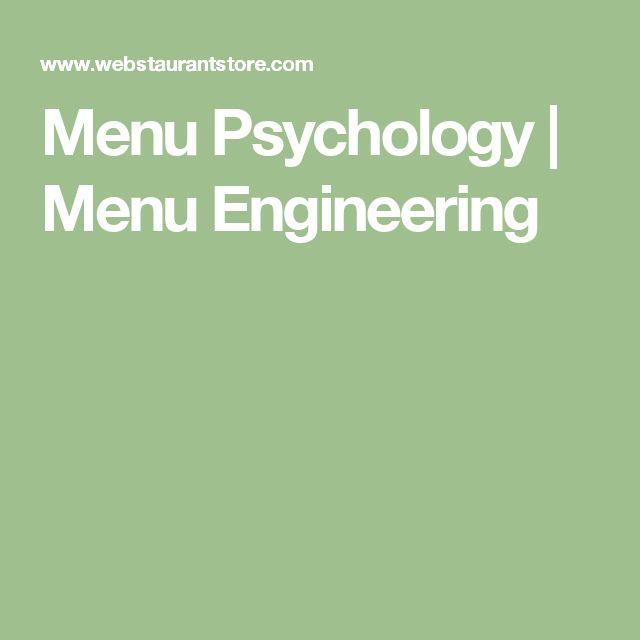 Menu Psychology | Menu Engineering