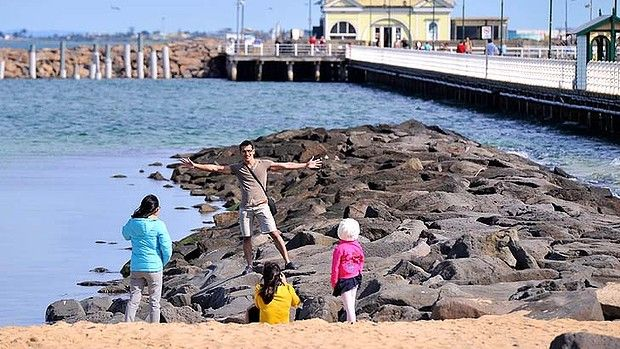 """""""Dads spending Fathers day with their families at St Kilda beach today."""" via theage.com.au"""