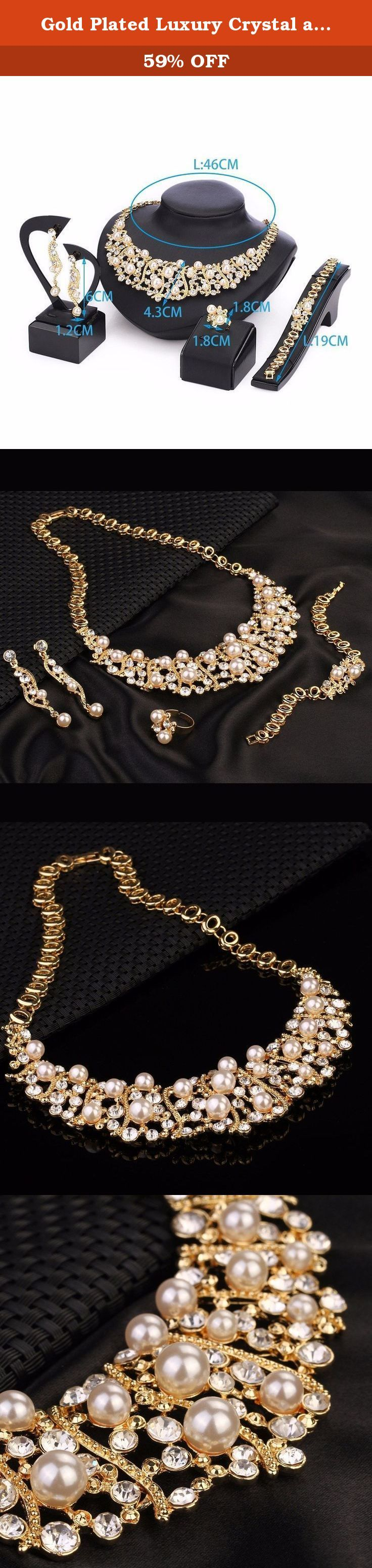 Gold Plated Luxury Crystal and Simulated-Pearl Beads Necklaces Jewelry Set 5 Pieces. Metals Type:Zinc Alloy Shape\pattern:Plant Jewelry Sets Type:Necklace/Earrings/Bracelet Model Number:4040 COLOR :Gold Plated Stone Material : Crystal and simulated-pearl SIZE :AS picture Ring size: opening size Place of Origin :GuangZhou China Place :Party /Wedding /Birthday /Anniversary ENVIRONMENTAL STANDARDS :Europe & Nickel Lead Cadmium free .