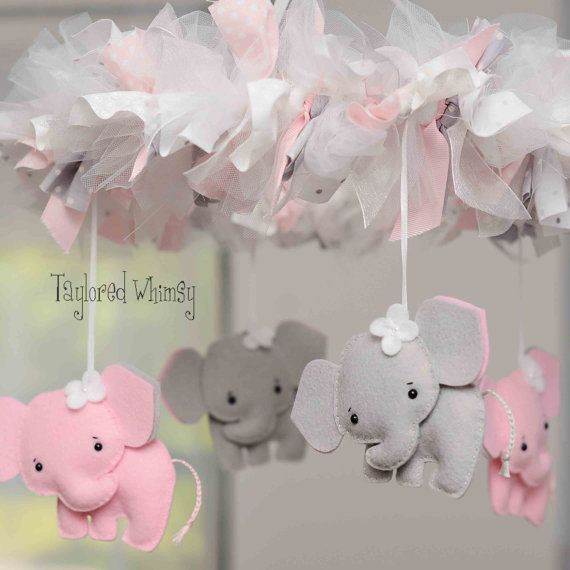 Elephant Mobile    Welcome to Taylored Whimsy! Where custom, couture baby mobiles are lovingly created for your special little bundle of joy.