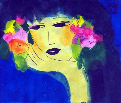 Walasse Ting, Girl with Flower Earrings 1980