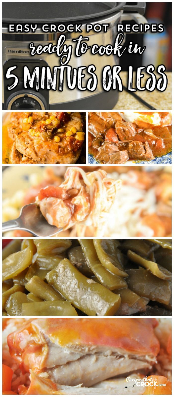 These easy crock pot recipes can be prepared in 5 minutes or less! Fiesta Pork Chops, Italian Beef Roast, One Pot Sausage Dinner, Party Beans, Spanish Rice, Fiesta Mac and Cheese, Crock Pot Green Beans, Slow Cooker Beans and Weenies are all a snap to throw together.These recipes make busy back to school days so much easier and are a great way to use up your pantry canned food staples. #Ad #CansGetYouCooking