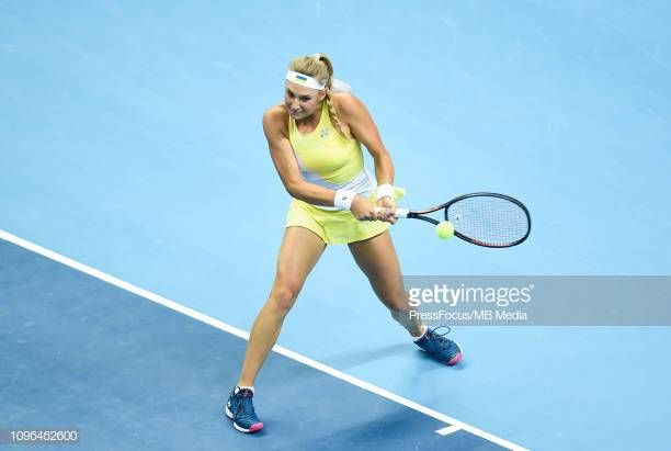 Dayana Yastremska Of Ukraine In Action During Her Match Against Iga Swiatek Of Poland During The Fed Cup Europe And Africa Zone Group I Ukraine Fed Cup Action