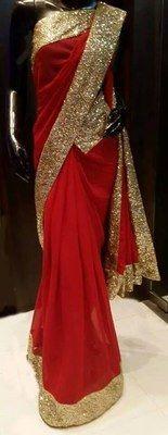 Designer Sparkling Georgette Saree Bollywood Sarees
