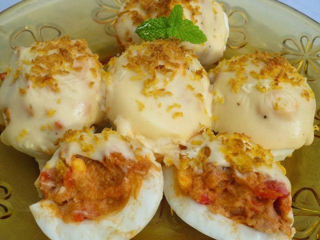 Huevos rellenos gratinados con Thermomix