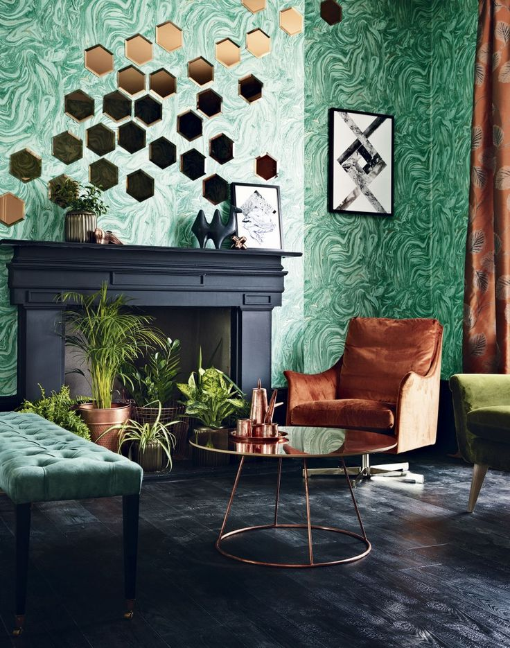 Green Modern Living Room with Metallic Accents