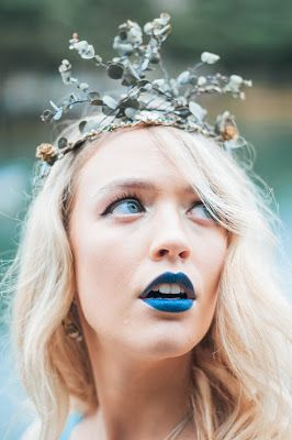© Ayna O'Driscoll Photography, Styling/Couture/Crown: Alice Halliday. Boho Bridal Inspiration, Lady of the Lake, Mermaid Style, Boho Bride, Blue lipstick, Bridal Crown, beach wedding