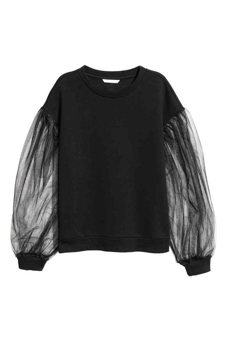Sweat avec manches en tulle - Noir - FEMME   H&M FR