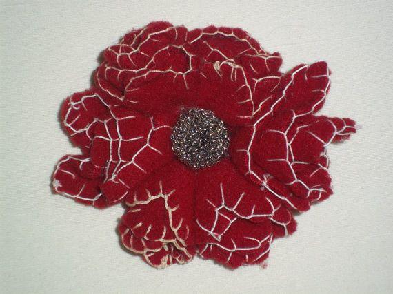 Deep red felt flower brooch by TzoFeltGood on Etsy, €22.00