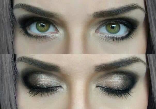 Smoky look for green eyes