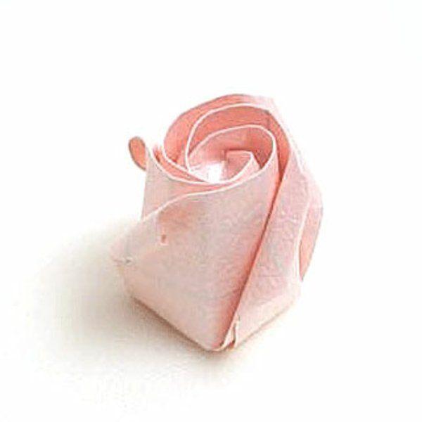 origami facile fleur - bouton de rose