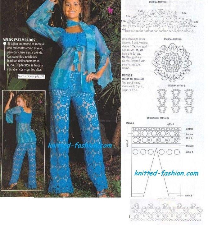 голубые брюки крючком,брюки крючком своими руками,вязание крючком схемы,модели и описания,бесплатные вязание крючком,