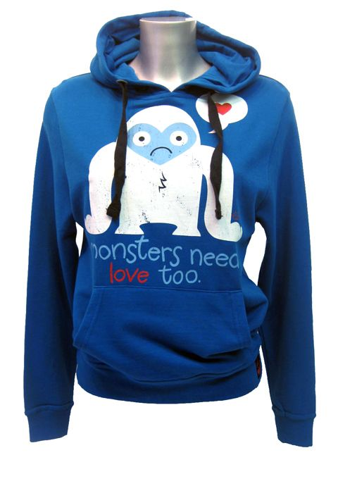 Goodie Two Sleeves Monsters Need Love Hoody | Gothic Clothing | Emo clothing | Alternative clothing | Punk clothing - Chaotic Clothing