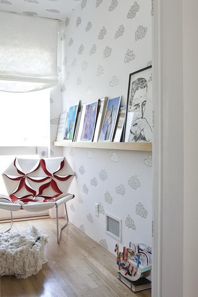 Home decoration, Decorating Small Bedroom With Pretty Clouds Wallpaper: 5 steps of decorating interior with wallpaper