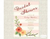花とストライプブライダルシャワーの招待状やブライダルランチョン招待状、印刷、DIY、PDF