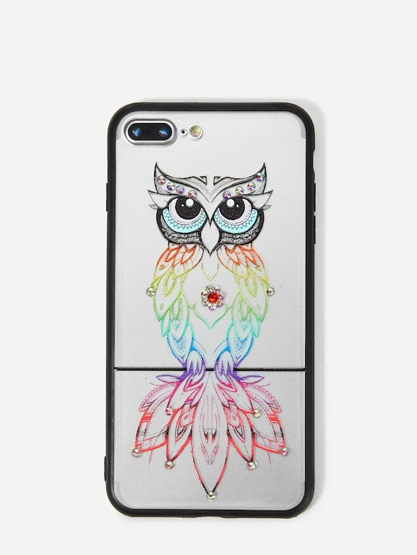 53db7a0d3d Owl iPhone Case With Rhinestone -SheIn(Sheinside) | Make Your ...