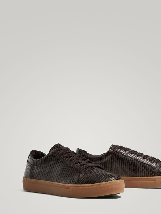 e2c1bf697d022 Spring Summer 2018 Men´s BROWN MOCK CROC LEATHER SNEAKERS at Massimo Dutti  for 69.5. Effortless elegance!