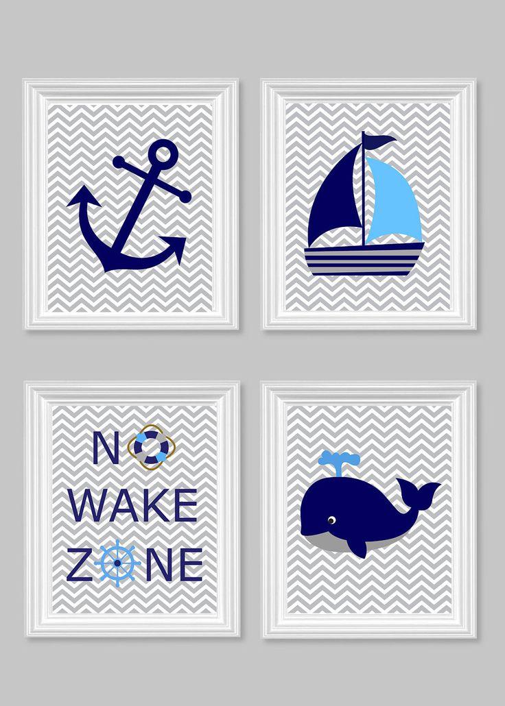 Nautical Nursery Prints, No Wake Zone, Sailboat, Whale, Anchor, Gray Navy Blue, Ocean Nursery Art, Nautical Decor, Baby Shower Gift, Canvas by SweetPeaNurseryArt on Etsy https://www.etsy.com/listing/187979381/nautical-nursery-prints-no-wake-zone