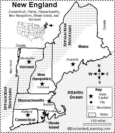 New England Map/Quiz Printout - EnchantedLearning.com