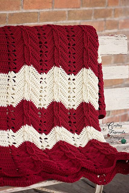 Ravelry: Classic Cable Chevron Afghan pattern by Kate Wagstaff