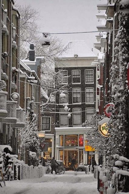 Snowy Night, Amsterdam, The Netherlands....  This looks like one of the Christmas village themes <3