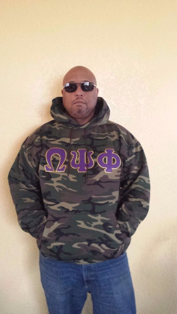 Omega Psi Phi Camouflage Hoodie- XL