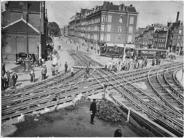 1928 Amsterdam tramrails construction at Rozengracht/Marnixstraat
