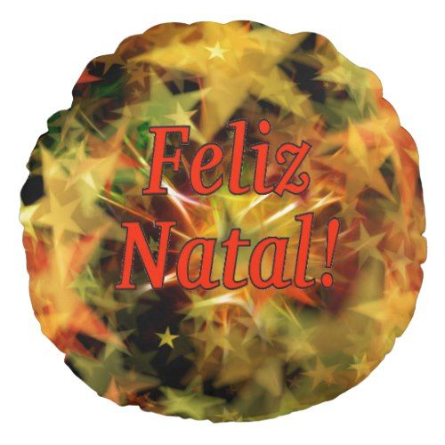 Feliz Natal! Merry Christmas in Portuguese rf Round Pillow