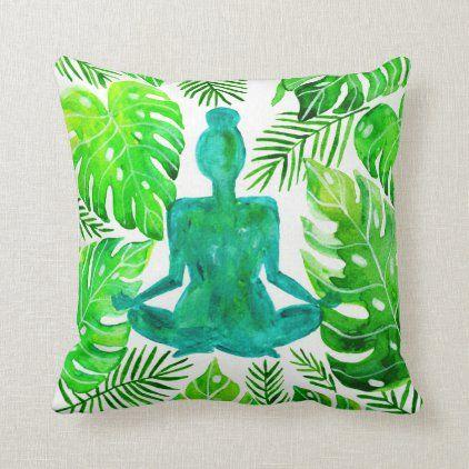 meditative yoga lotus pose throw pillow  zazzle