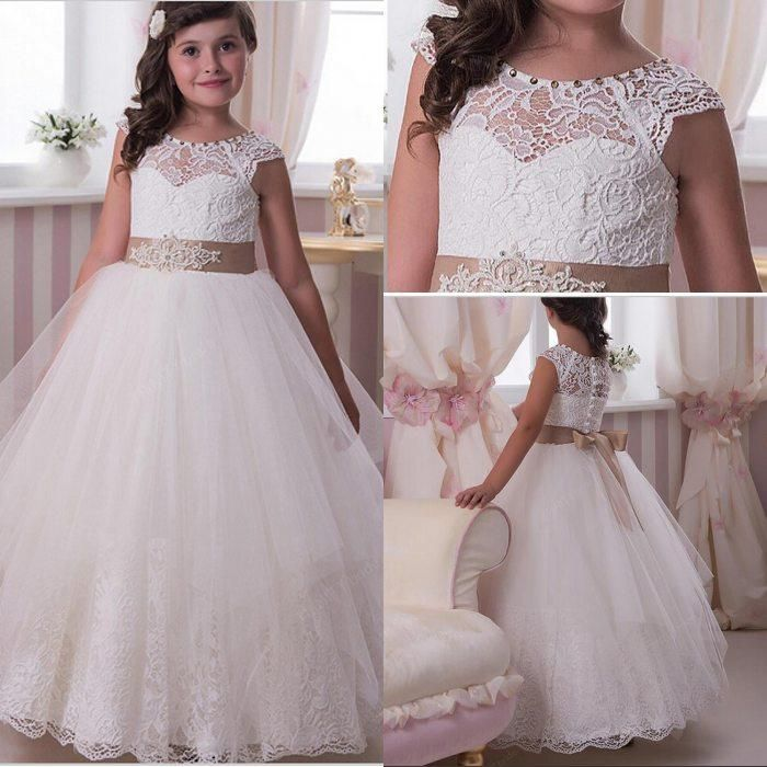 Encaje Las Muchachas De Flor Vestidos Scoop Una Línea Con Crystal Tulle Vestidos De Primera Comunión Vestido De Daminha Párrafo Casamento