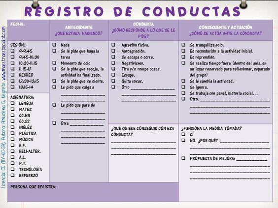 registro de conductas
