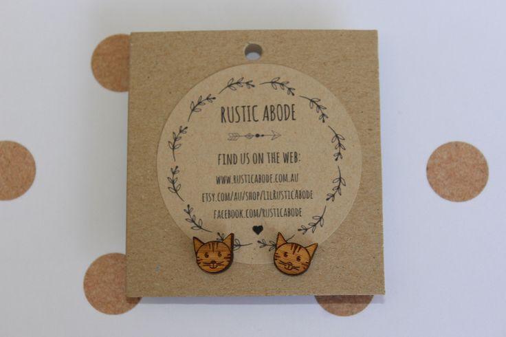 Handmade Wooden Laser Cut Stud Earrings ~ Kitty Cat