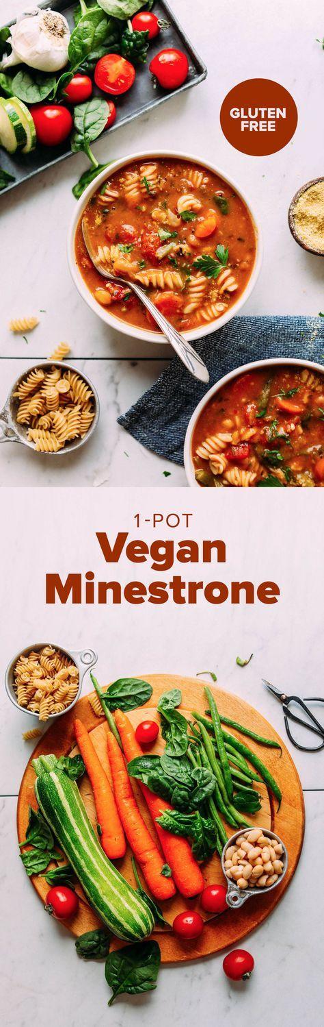 PERFECT 1-Pot Vegan Minestrone! Vegetables, beans, pasta, SO delicious and healthy! #minestrone #soup #recipe #vegan #glutenfree #minimalistbaker
