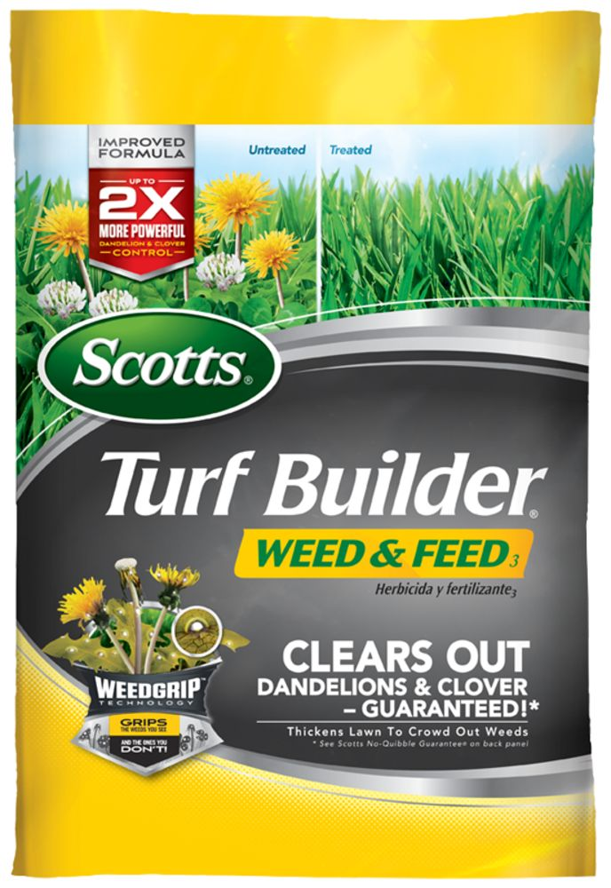 Scotts Turf Builder Weed and Feed is from the Scotts Feed & Control Weeds Lawn Fertilizer product line. This lawn fertilizer helps kill dandelions and other major lawn weeds.