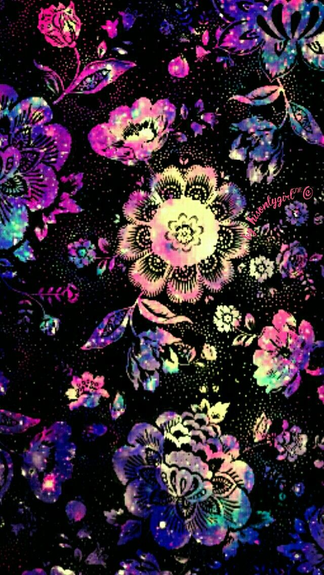 Floral galaxy wallpaper I made for the app CocoPPa.