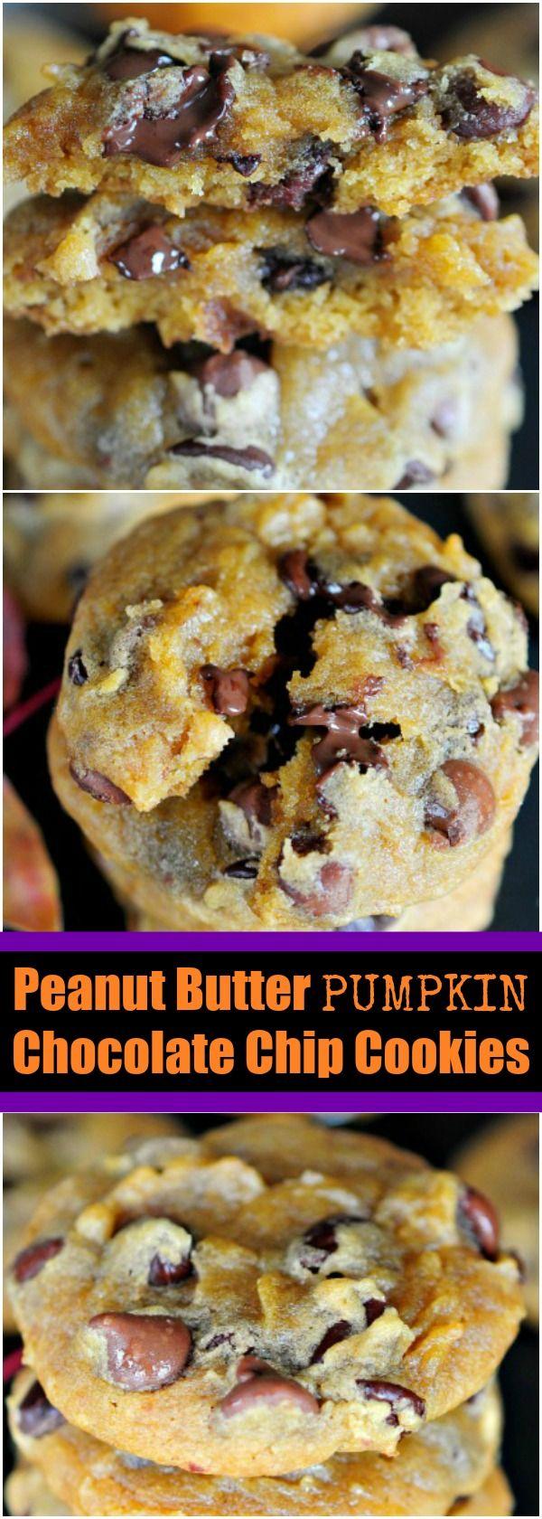Peanut Butter Pumpkin Chocolate Chip Cookies