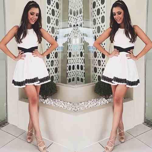 vestido rodado curto,preto branco, blogueira, panicat