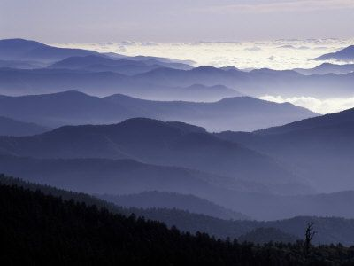 Appalachian Mountains at Dawn, Great Smoky Mountains National Park, Tennessee, USA Photographic Print by Adam Jones