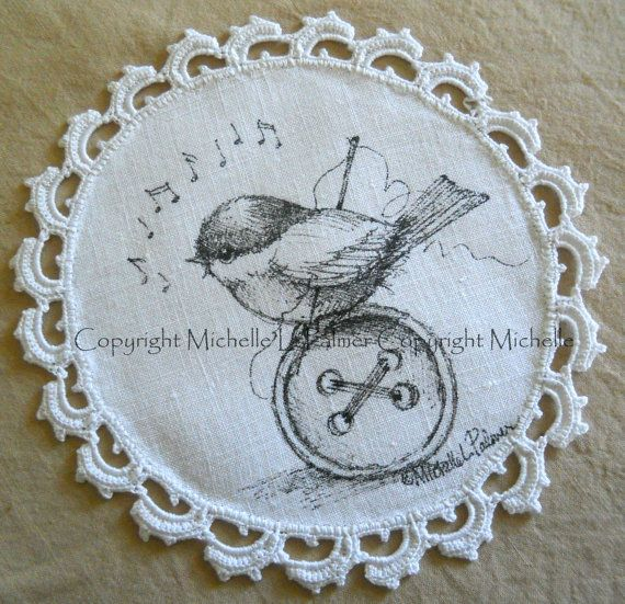 Original Pen and Ink Illustration on Antique Vintage Linen Michelle Palmer Chickadee Sewing Room Button Music