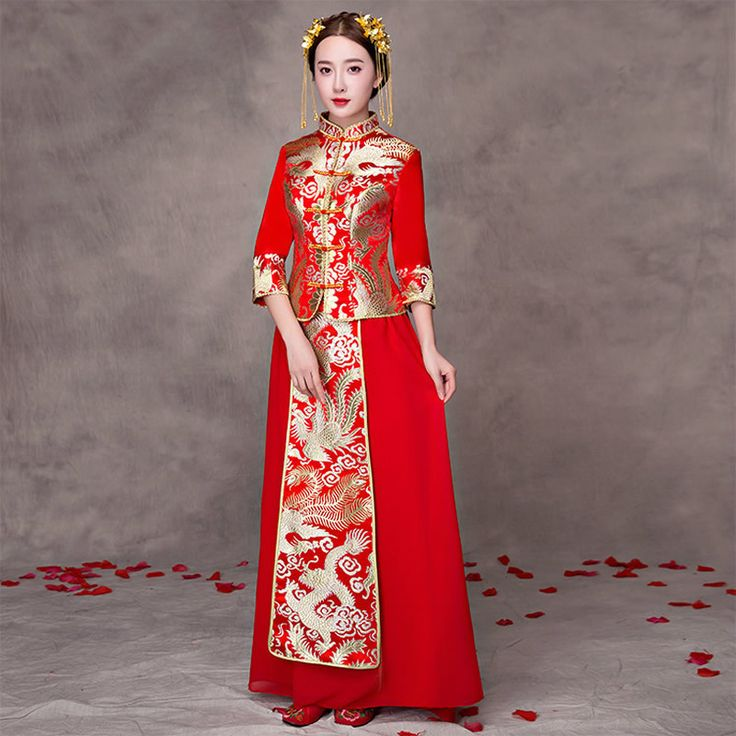 >> Click to Buy << Chinese Dress Women Bride Wedding Cheongsam Traditional Qipao Pattern Oriental Robe Mariage Chinoise Red Qi Pao Antiques Vintage #Affiliate